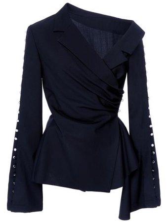 Plain Pearl Button Oblique Collar Bell Sleeve Women's Blouse