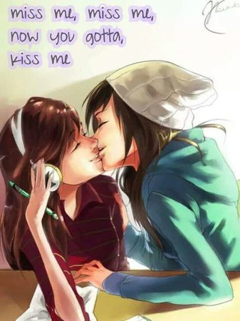 cute lesbian anime couples kissing drawing - Google Search