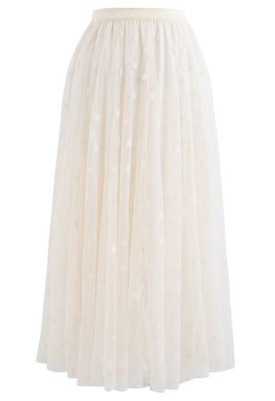 3D Clover Double-Layered Mesh Midi Skirt in Cream - Retro, Indie and Unique Fashion