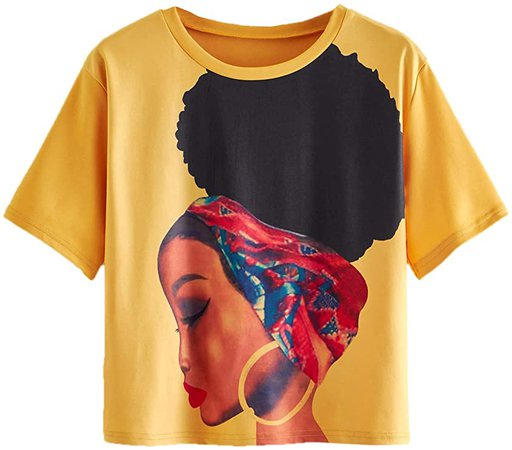 SheIn Women's Short Sleeve Novelty Print T-Shirt Figure Graphic Tee Casual Tops