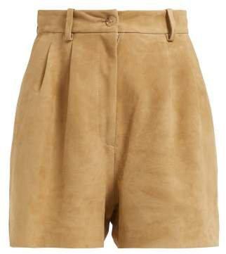 Roxana High Waisted Suede Shorts - Womens - Beige