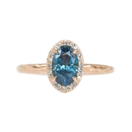 1.19CT BLUE OVAL MONTANA SAPPHIRE RING IN 14K ROSE GOLD EVERGREEN DIAMOND HALO by Anueva jewelry