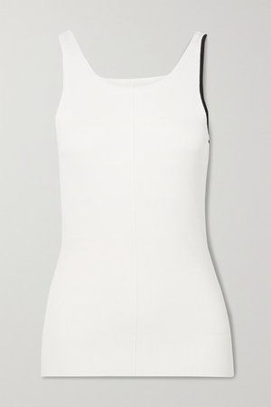 Maggie Two-tone Ribbed-knit Tank - White
