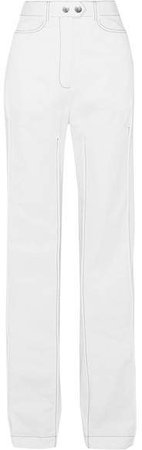 Bromide Cotton-twill Wide-leg Pants - White