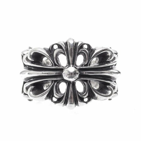 Authentic [Chrome Hearts] DOUBLE FLORAL CROSS RING, All Size Available | eBay