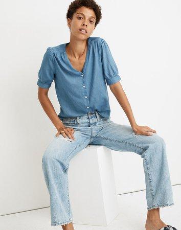 Denim Plaza Button-Front Shirt