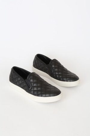 Steve Madden Ecentrcq - Black Quilted Sneakers - Slip-On Sneakers