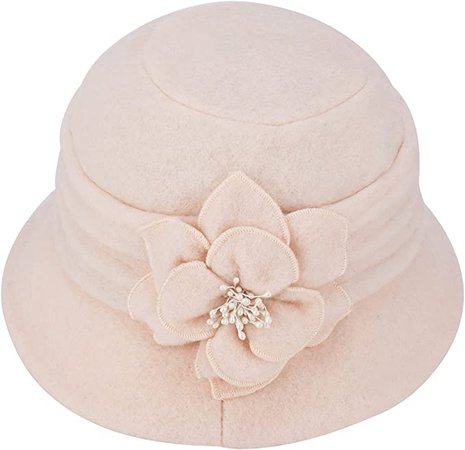 Womens Gatsby 1920s Winter Wool Cap Beret Beanie Cloche Bucket Hat A299 (Ivory) at Amazon Women's Clothing store