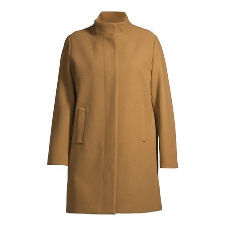 Time and Tru - Time and Tru Women's Plus Size Faux Wool Funnel Neck Coat - Walmart.com - Walmart.com
