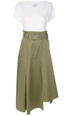 3.1 Phillip Lim Utility Cotton Twill And Jersey Midi Dress