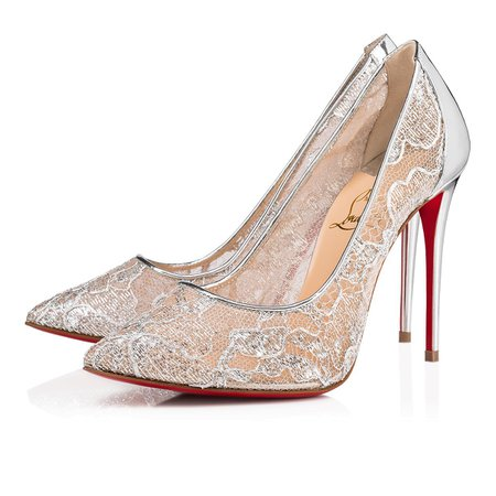 Follies Lace 100 Version Silver Dentelle Lurex - Women Shoes - Christian Louboutin