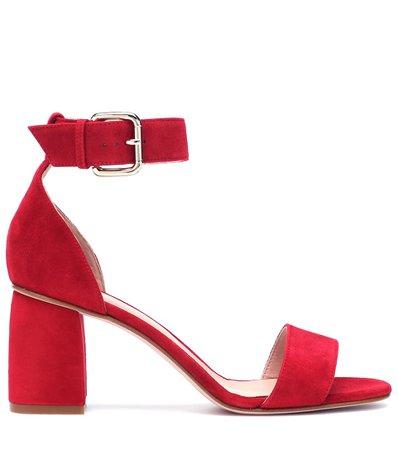 Red (V) Suede Block Heel Sandals | REDValentino - mytheresa