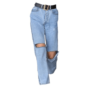 RIPPED DENIM JEANS WITH A BELT