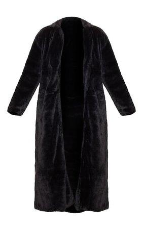 Black Longline Faux Fur Coat | PrettyLittleThing