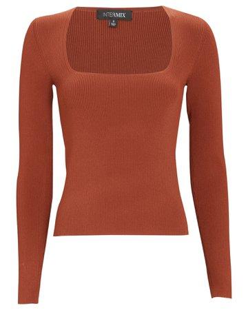 INTERMIX Private Label Kai Long Sleeve Rib Knit Top | INTERMIX®