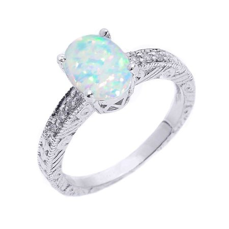 Silver Opal Ring (Engagement)