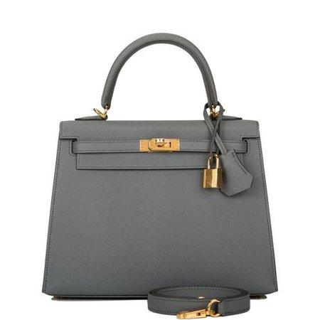 Hermes   Hermès Kelly Vert Amande Epsom Sellier 25Cm Gold Hardware Green Leath   Hermes handbags, Hermes kelly bag, Hermes kelly