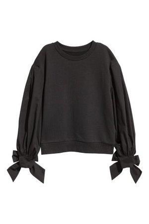Puff-sleeved Sweatshirt - Black - Ladies | H&M US