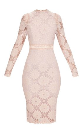 Dusty Pink Long Sleeve Lace Bodycon Dress | PrettyLittleThing