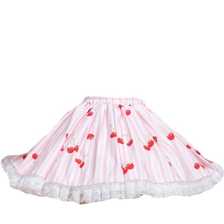 Amazon.com: Trendareus Pink Polyester Striped Pattern Cherry Printed Lace Lolita Suspender Skirt