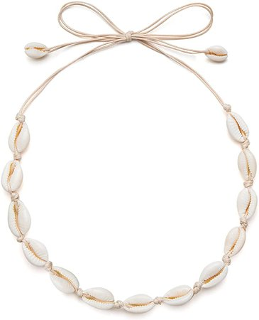 Amazon.com: Sea Shell Necklace Choker For Women Summer Beach Natural Cowrie Shell Necklace(Begie Rope): Clothing