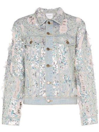 Ashish sequin embellished ripped denim jacket $972 - Buy SS19 Online - Fast Global Delivery, Price