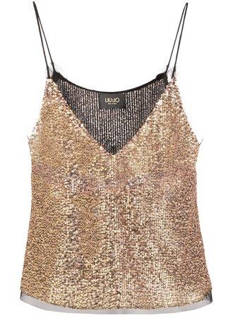 Liu Jo Embroidered Camisole Top CA0042J1846 Gold | Farfetch