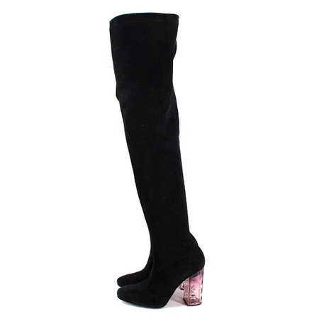Nicholas Kirkwood Black Suede Thigh High Heeled Boots - Size EU 40.5 For Sale at 1stDibs