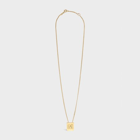 M NECKLACE - ALPHABET M NECKLACE IN BRASS WITH GOLD FINISH | CELINE