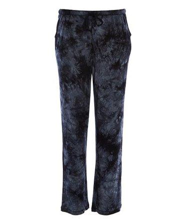 René Rofé Black Tie-Dye Weekender Pajama Pants - Women | Zulily