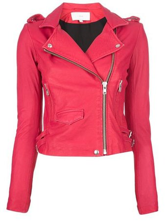 Hot Pink Leather Motorcycle Jacket