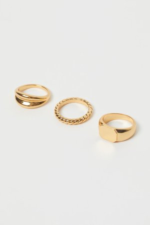 3-pack Gold-plated Rings - Gold