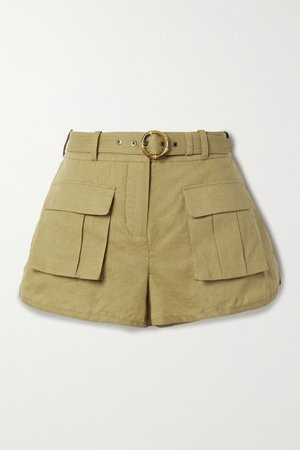 Brighton Belted Linen And Cotton-blend Shorts - Sand