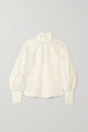 Super Eight embroidered linen and silk-blend blouse