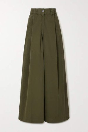 Podium Pleated Cotton-twill Wide-leg Pants - Army green