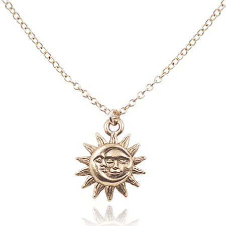 """Amazon.com: Mae Mae """"Sun & Moon Necklace Light after Dark"""" 14k Gold Filled Hope & Inspirational Jewelry 16-18"""": Jewelry"""