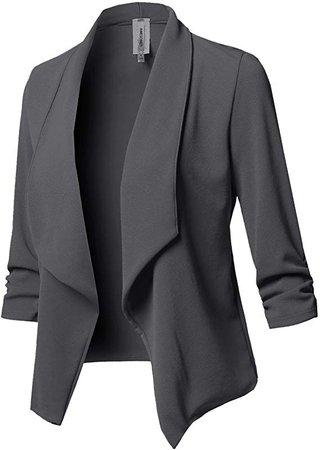Women's Stretch 3/4 Gathered Sleeve Open Blazer Jacket at Amazon Women's Clothing store
