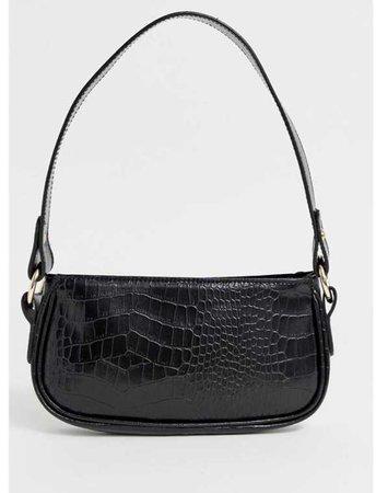 90s leather croc print shoulder bag