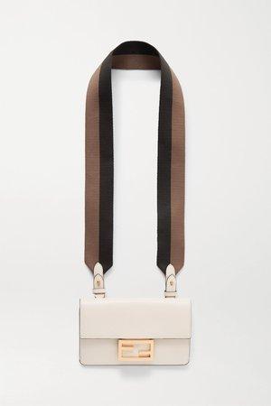 White Baguette canvas-trimmed leather shoulder bag | Fendi | NET-A-PORTER