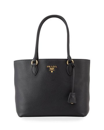Prada Pebble Leather Top-Handle Tote Bag