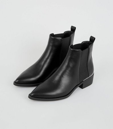 Black Pointed Chelsea Boots | New Look