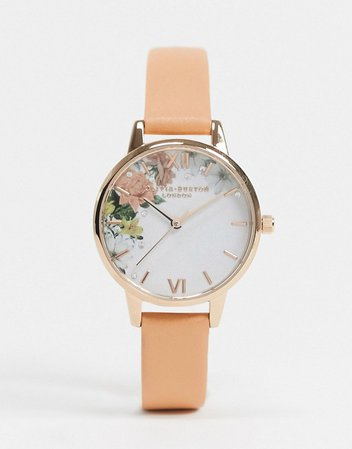 Olivia Burton Sparkle floral leather watch in coral | ASOS
