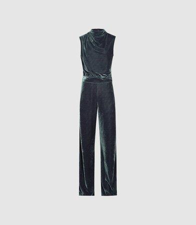 Diane Silver Velvet Jumpsuit – REISS