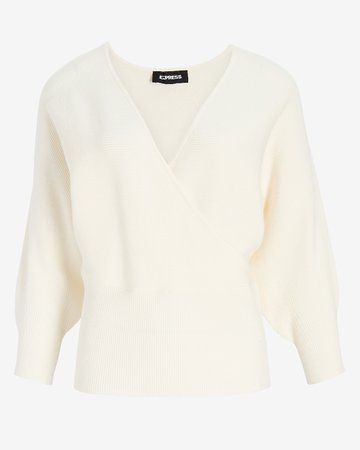 Wrap Front Balloon Sleeve Sweater   Express