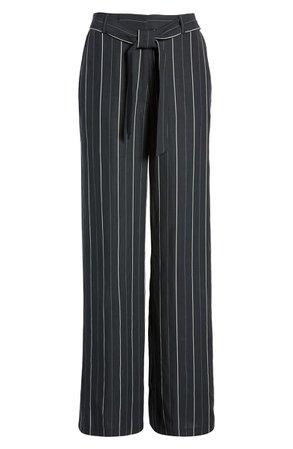 Chelsea28 Multistripe Tie Waist Wide Leg Pants blackm