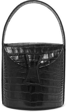 BY FAR - Nick Croc-effect Leather Shoulder Bag - Black