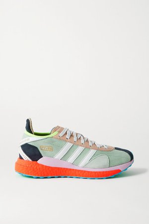Human Made Tokio Solar Hu Leather And Suede-trimmed Mesh Sneakers - Gray green