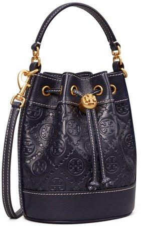 T Monogram Leather Mini Bucket Bag