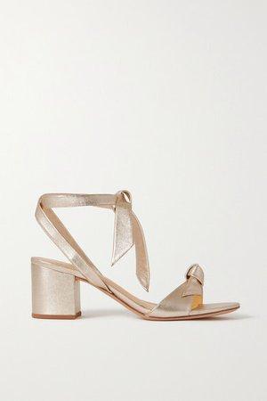 Clarita Bow-embellished Metallic Leather Sandals - Gold