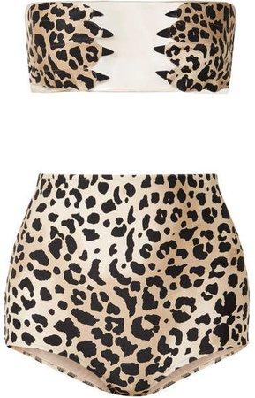 Adriana Degreas Paws Tulle-paneled Leopard-print Bandeau Bikini - Leopard print